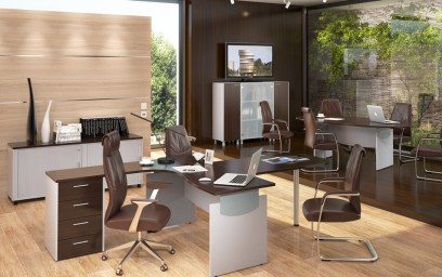 Доминирующим стилем в дизайне офисной мебели для персонала «Оffix» является неоконструктивизм.