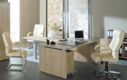Кабинет руководителя можно составить из стола нужной высоты, дополненного при необходимости тумбой с выдвижными ящиками и брифинг-приставкой.