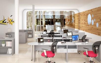 Офисная мебель SIMPLE представлена в сером цвете.