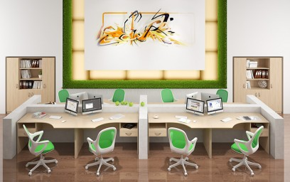 Офисная мебель SIMPLE представлена в цвете Легно светлый.